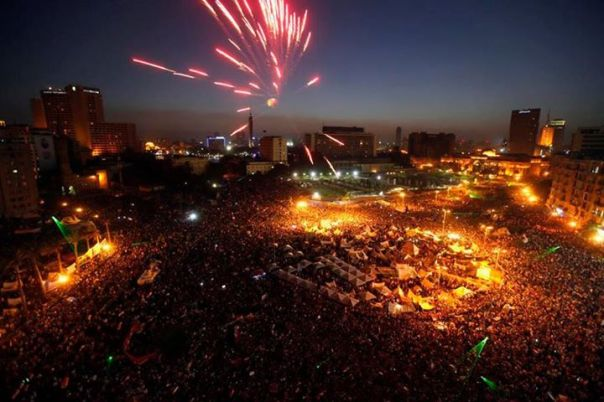 This is Egypt's Tahrir Square right now! People are cheering, dancing and celebrating as they have successfully ousted their government. 33,000,000 Egyptians joined in on what is the largest protest in the history of mankind.  Thank you Egypt for showing the world how it is done.