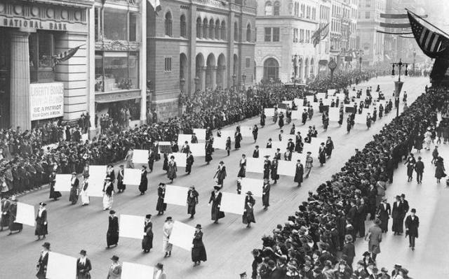 Women's suffragists parade down Fifth Avenue, New York, October 1917, carrying the signatures of a million women.  So amazed by all the ass kicking women who came before us and risked so much for our freedoms. Forever inspired and grateful!!