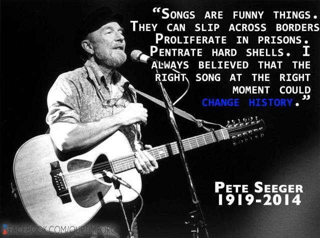 A Beloved folk icon and catalyst for social change died on Monday. So grateful to Pete Seeger for all the effort he made to shake things up and leave this world better than he found it. Thanks for sharing your light brother. Peace!