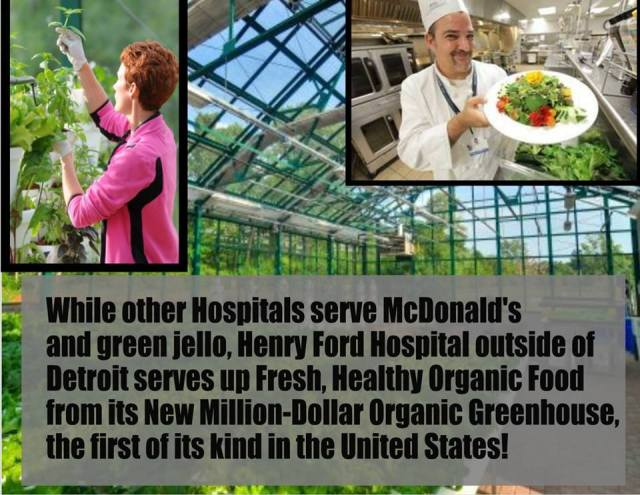 Boasting five types of kale, 23 kinds of heirloom tomatoes, strawberry plants, microgreens, and five varieties each of squash, eggplant, hot and sweet peppers, basil and more, the greenhouse garden at Henry Ford Hospital features an extensive hydroponics system and an exquisite lobby for entertaining, teaching kids and hosting events. Putting health back into hospitals. Love this idea!