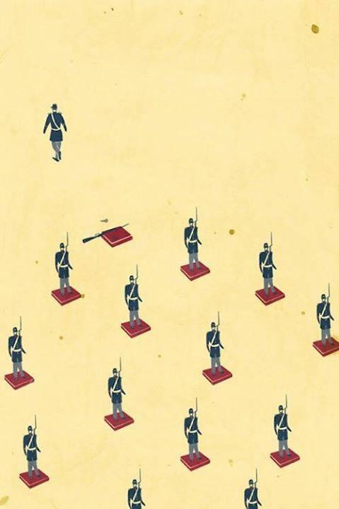 soldier walks away