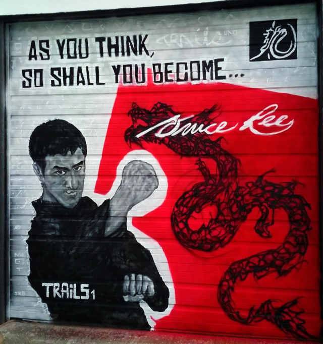 Graffiti Bruce Lee Street Art Mural - Trails1