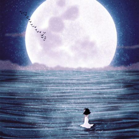 Moon girl ocean