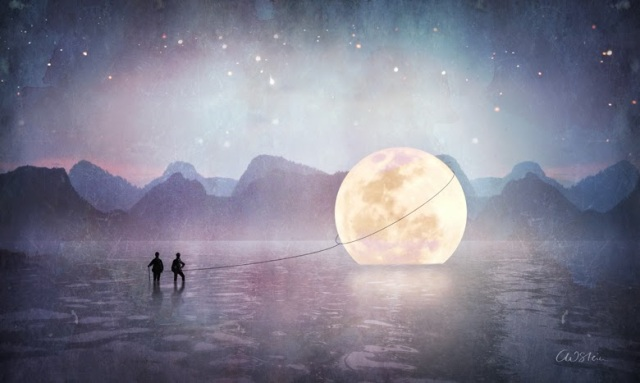 Full Moon Art by Catrin Welz-Stein